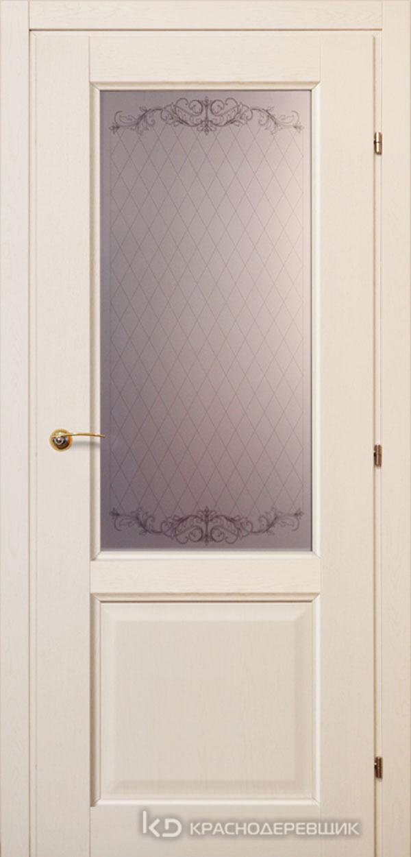 6000 ДубБелый с патинойПП Дверь 6324 ДО 21- 9 (пр/л), с фурн., Стекло Кружевное