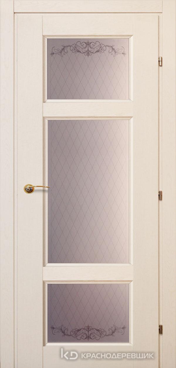 6000 ДубБелый с патинойПП Дверь 6342 ДО 21- 9 (пр/л), с фурн., Стекло Кружевное