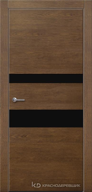 700 ДубКофеШпонДуба Дверь 703 ДО 21- 9 (пр/л), с фурн., СтеклоЧерное
