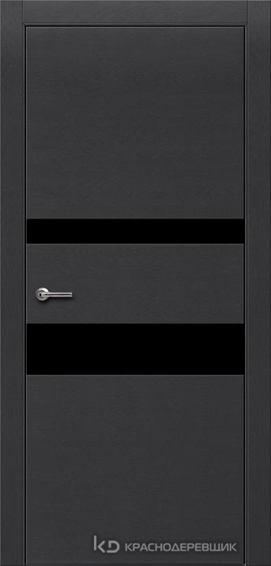 700 ЭмальЧерныйШпонДуба Дверь 703 ДО 21- 9 (пр/л), с фурн., СтеклоЧерное