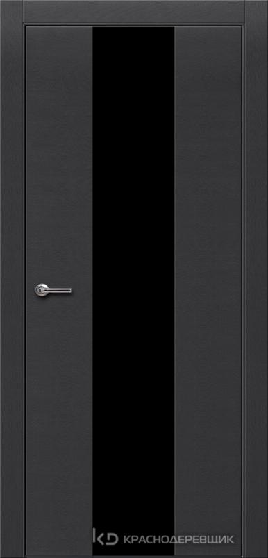 700 ЭмальЧерныйШпонДуба Дверь 704 ДО 21- 9 (пр/л), с фурн., СтеклоЧерное