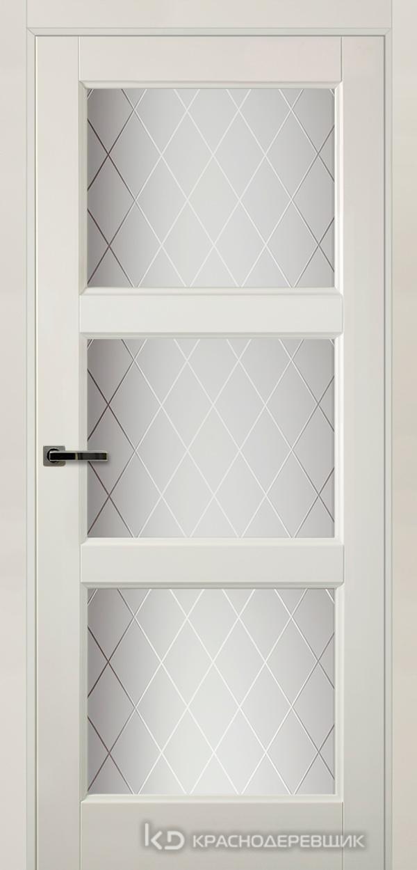 Экселент БелыйПП Дверь Э54 ДО, 21- 9, Кристалл, с фрез.под мех.зам RENZ INLB96PLINDC п/фикс, хром и 2 скр.петли IN301090, Прямой притвор