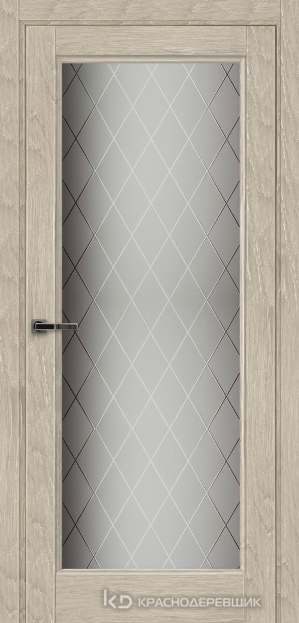 Экселент ДубСедойPVC Дверь Э40 ДО, 21- 9, Кристалл, с фрез.под мех.зам RENZ INLB96PLINDC п/фикс, хром и 2 скр.петли IN301090, Прямой притвор