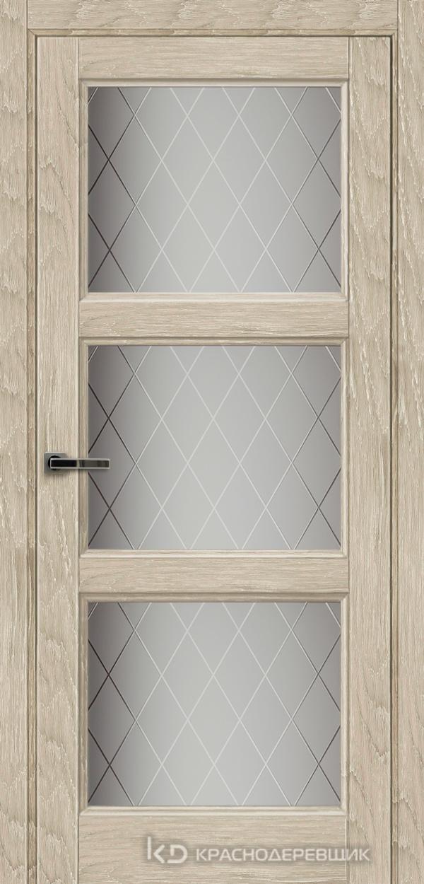Экселент ДубСедойPVC Дверь Э54 ДО, 21- 9, Кристалл, с фрез.под мех.зам RENZ INLB96PLINDC п/фикс, хром и 2 скр.петли IN301090, Прямой притвор