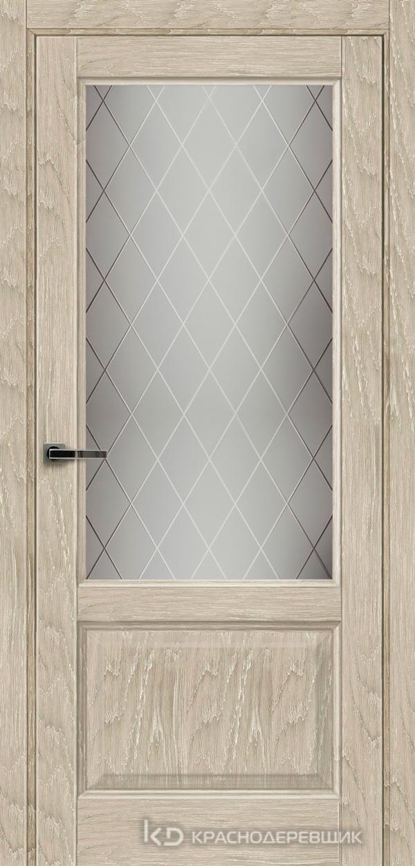 Экселент ДубСедойPVC Дверь Э24 ДО, 21- 9, Кристалл, с мех.замком RENZ INLB96PLINDC п/фикс, хром; 2 скр.петли IN301090, Прямой притвор