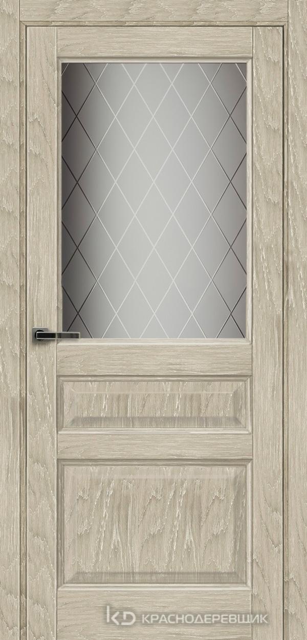 Экселент ДубСедойPVC Дверь Э34 ДО, 21- 9, Кристалл, с мех.замком RENZ INLB96PLINDC п/фикс, хром; 2 скр.петли IN301090, Прямой притвор