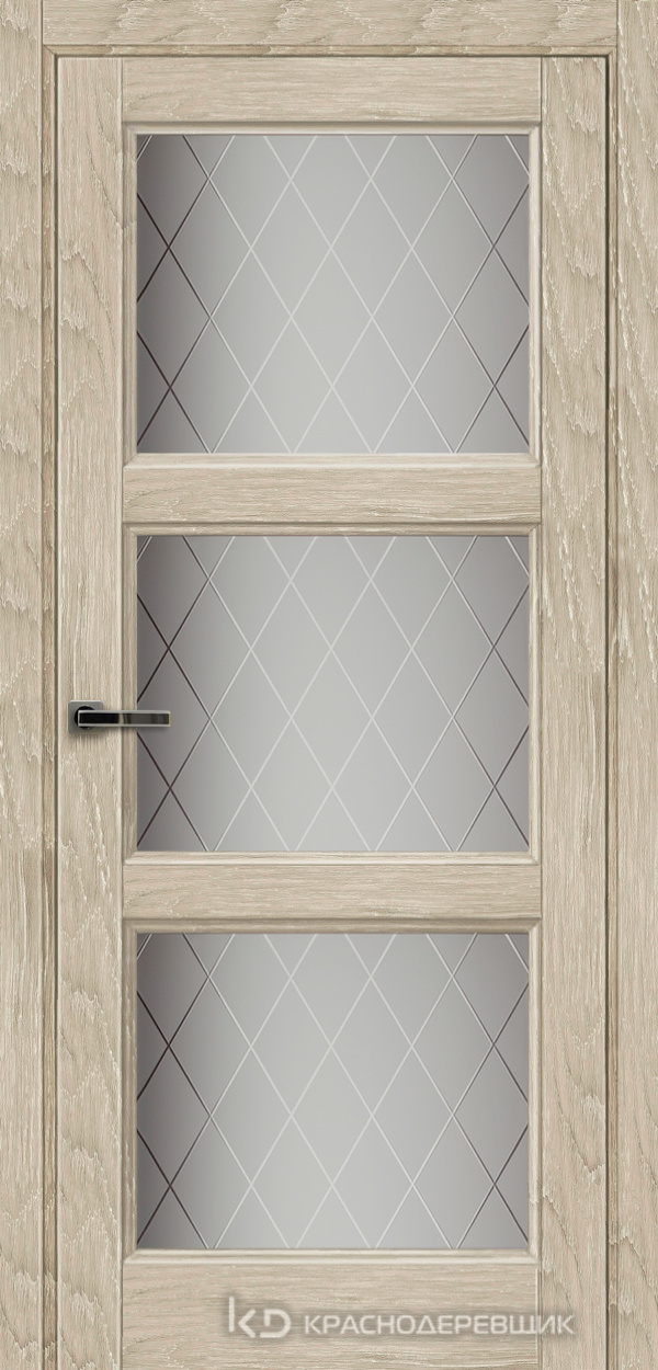 Экселент ДубСедойPVC Дверь Э54 ДО, 21- 9, Кристалл, с мех.замком RENZ INLB96PLINDC п/фикс, хром; 2 скр.петли IN301090, Прямой притвор