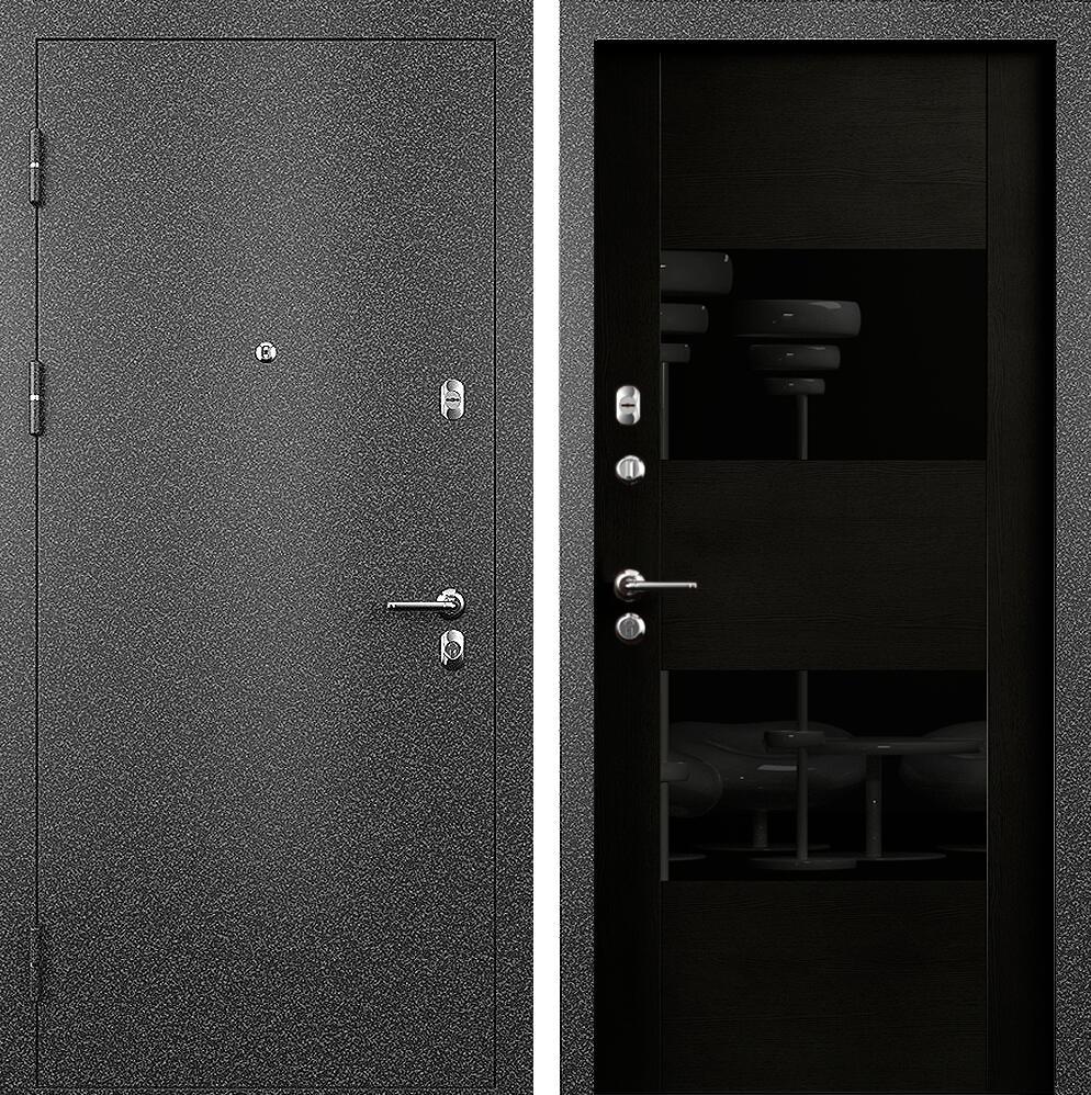 Коллекция Входные двери Цвет Дуб черный Стекло лакобель черное