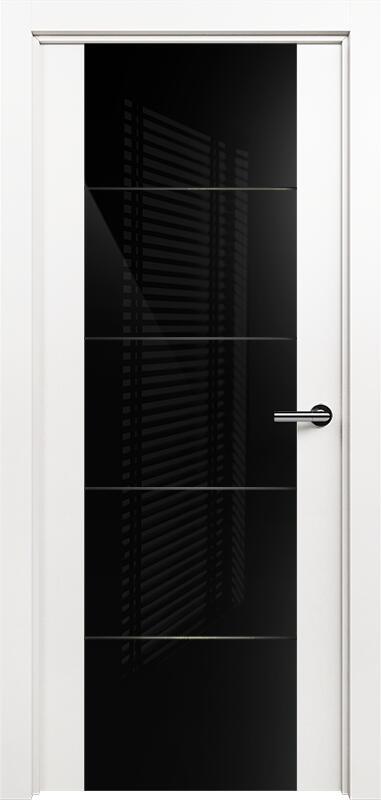 Коллекция Versia 222 Белый   лёд + Триплекс 8мм черный с горизонтальной гравировкой