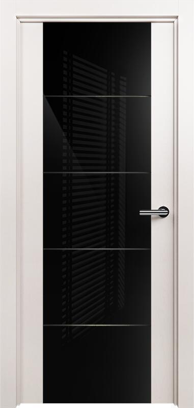 Коллекция Versia 222 Белый жемчуг + Триплекс 8мм черный с горизонтальной гравировкой