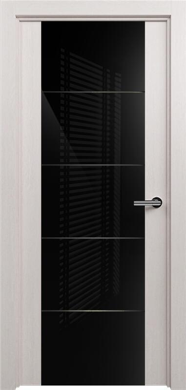 Коллекция Versia 222 Дуб белый + Триплекс 8мм черный с горизонтальной гравировкой