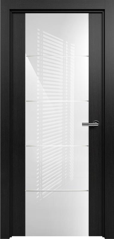 Коллекция Versia 222 Дуб черный + Триплекс 8мм белый с горизонтальной гравировкой