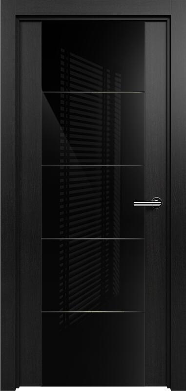 Коллекция Versia 222 Дуб черный + Триплекс 8мм черный с горизонтальной гравировкой
