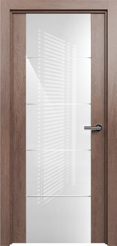 Коллекция Versia 222 Дуб капучино + Триплекс 8мм белый с горизонтальной гравировкой