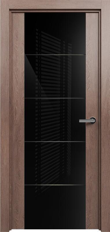 Коллекция Versia 222 Дуб капучино + Триплекс 8мм черный с горизонтальной гравировкой