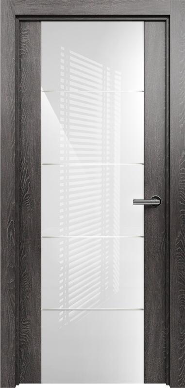 Коллекция Versia 222 Дуб патина + Триплекс 8мм белый с горизонтальной гравировкой