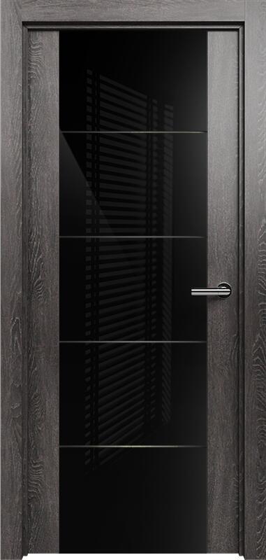 Коллекция Versia 222 Дуб патина + Триплекс 8мм черный с горизонтальной гравировкой