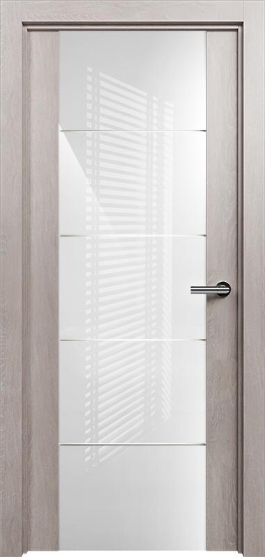 Коллекция Versia 222 Дуб   серый + Триплекс 8мм белый с горизонтальной гравировкой