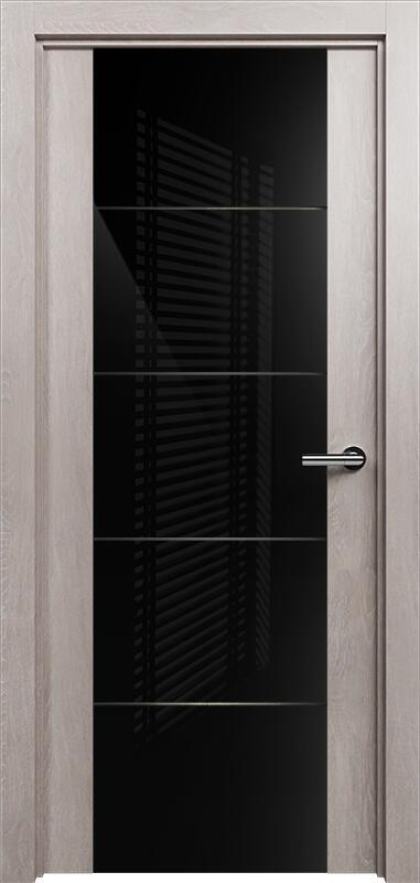 Коллекция Versia 222 Дуб   серый + Триплекс 8мм черный с горизонтальной гравировкой