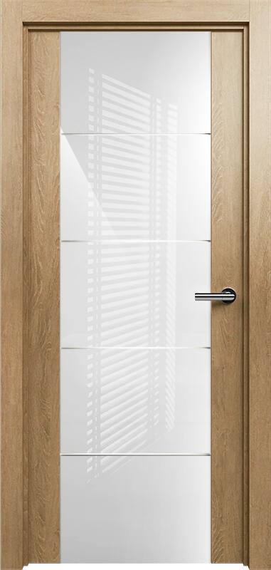 Коллекция Versia 222 Дуб светлый + Триплекс 8мм белый с горизонтальной гравировкой