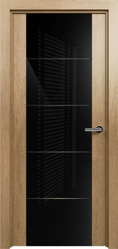 Коллекция Versia 222 Дуб светлый + Триплекс 8мм черный с горизонтальной гравировкой