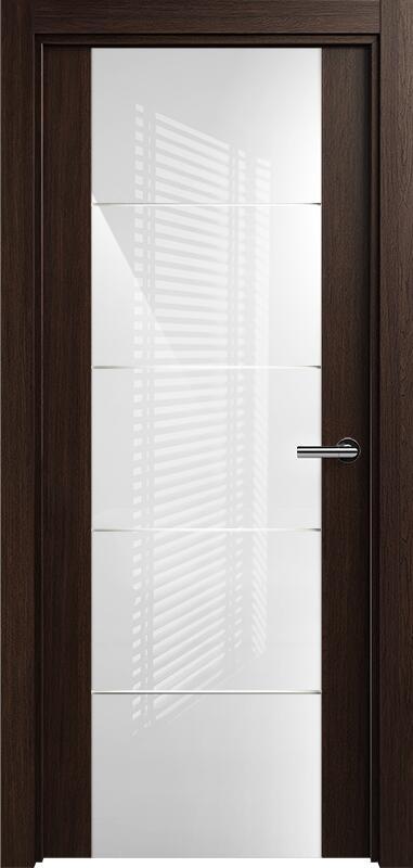 Коллекция Versia 222 Орех + Триплекс 8мм белый с горизонтальной гравировкой