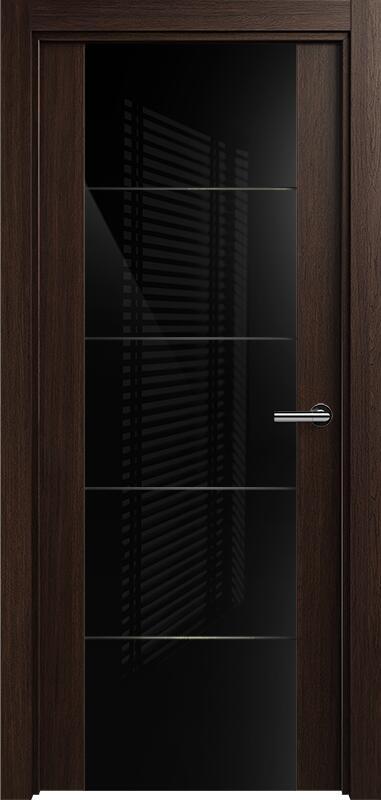 Коллекция Versia 222 Орех + Триплекс 8мм черный с горизонтальной гравировкой