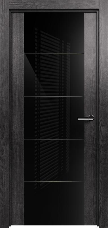 Коллекция Versia 222 Венге пепельный + Триплекс 8мм черный с горизонтальной гравировкой