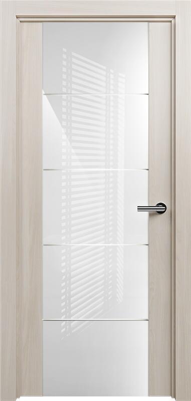 Коллекция Versia 222 Ясень + Триплекс 8мм белый с горизонтальной гравировкой