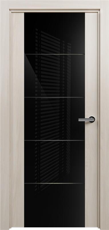 Коллекция Versia 222 Ясень + Триплекс 8мм черный с горизонтальной гравировкой