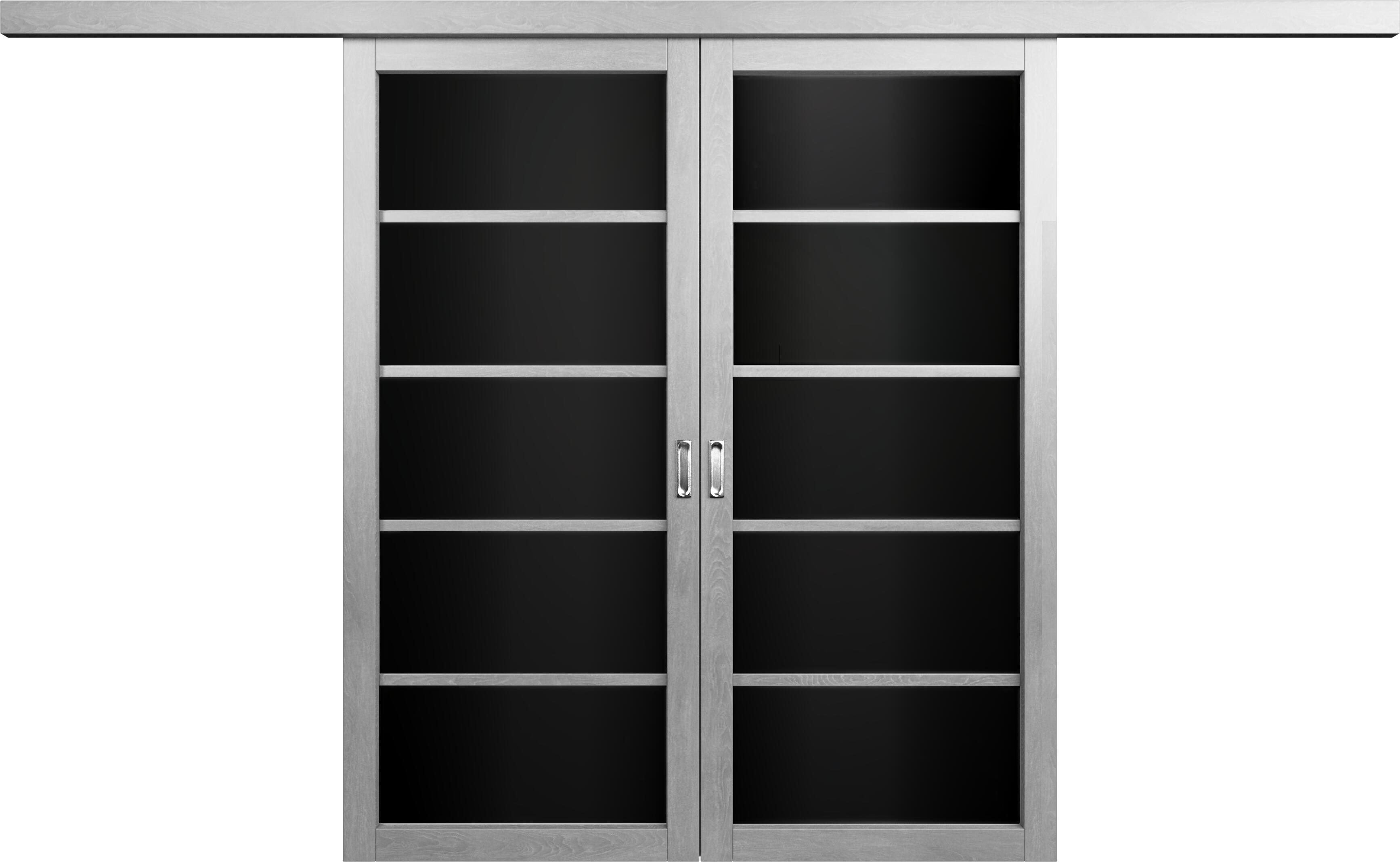 Коллекция Перегородки Перегородка со стеклом. Тип 1 Дуб   серый + Триплекс черный