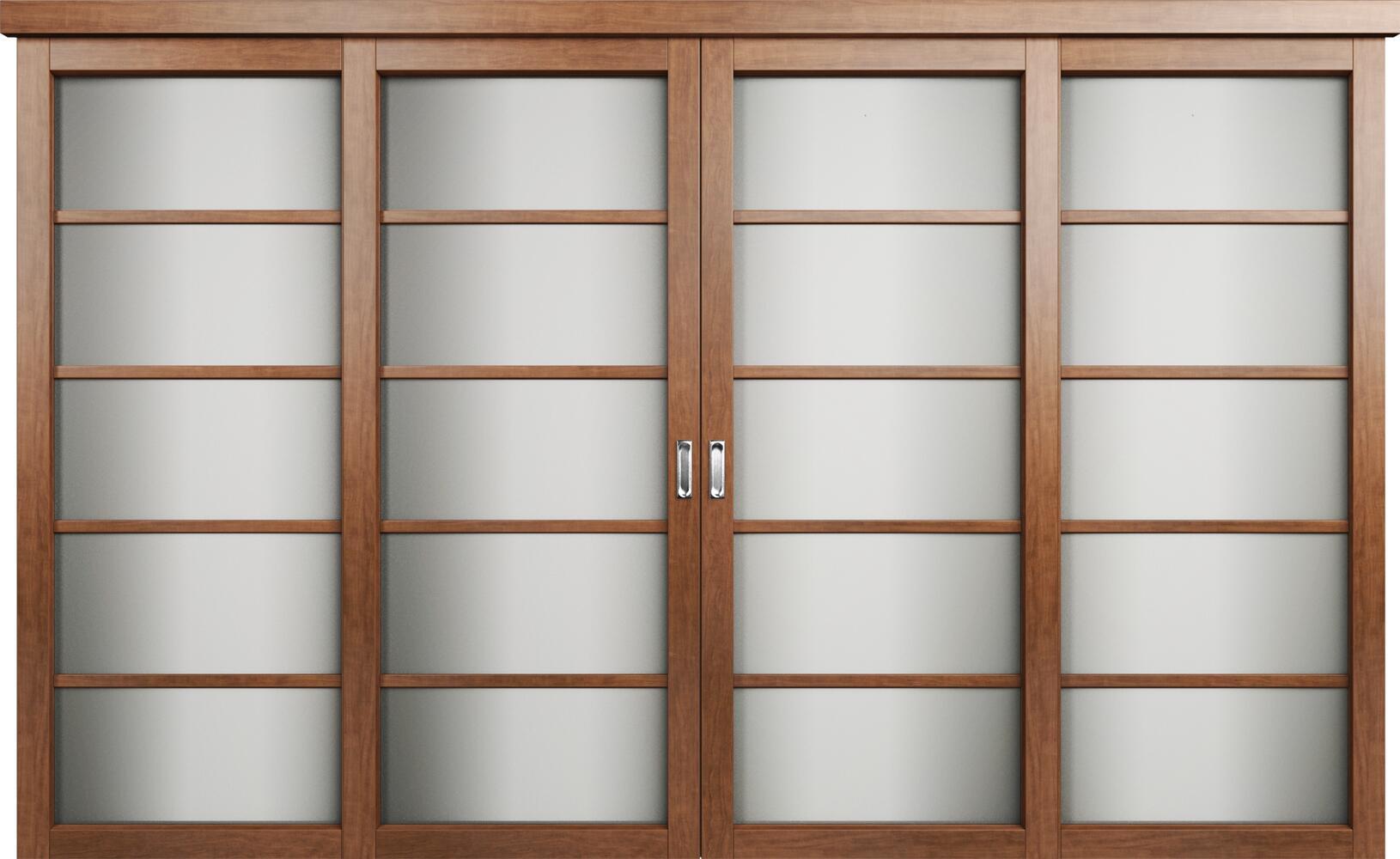 Коллекция Перегородки Двухполосная раздвижная система для 4-х полотен. Тип 1 Анегри + Сатинато белое