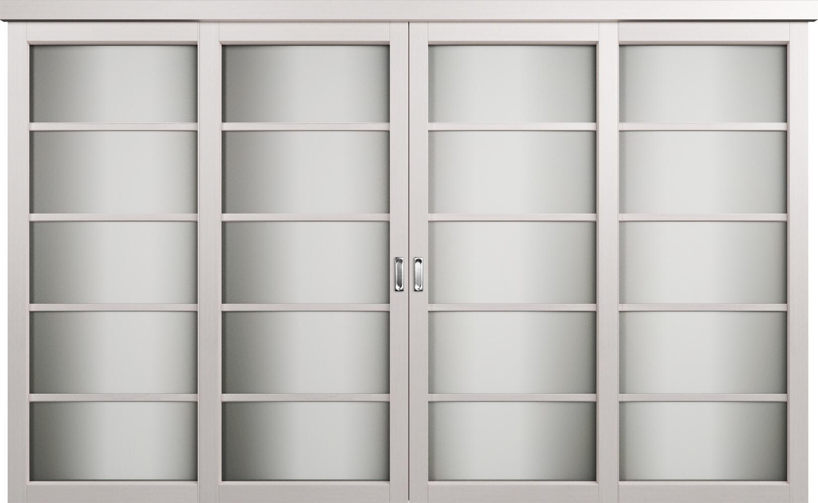 Коллекция Перегородки Двухполосная раздвижная система для 4-х полотен. Тип 1 Дуб белый + Сатинато белое