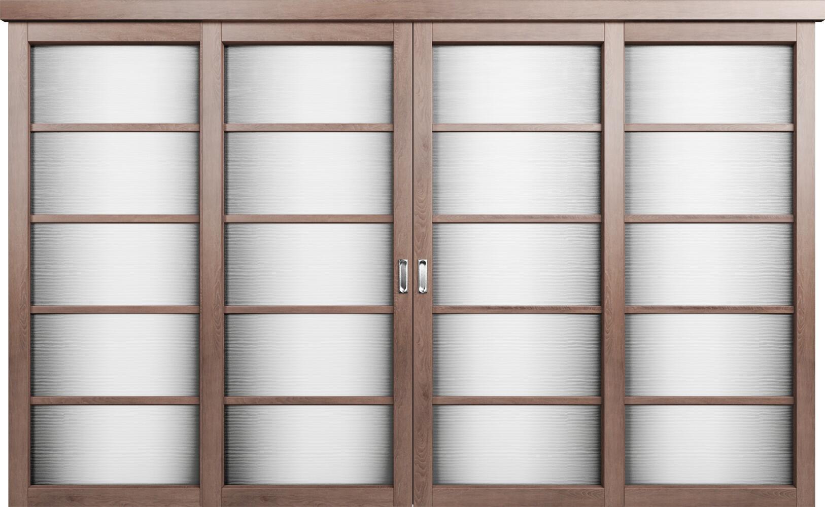 Коллекция Перегородки Двухполосная раздвижная система для 4-х полотен. Тип 1 Дуб капучино + Канны