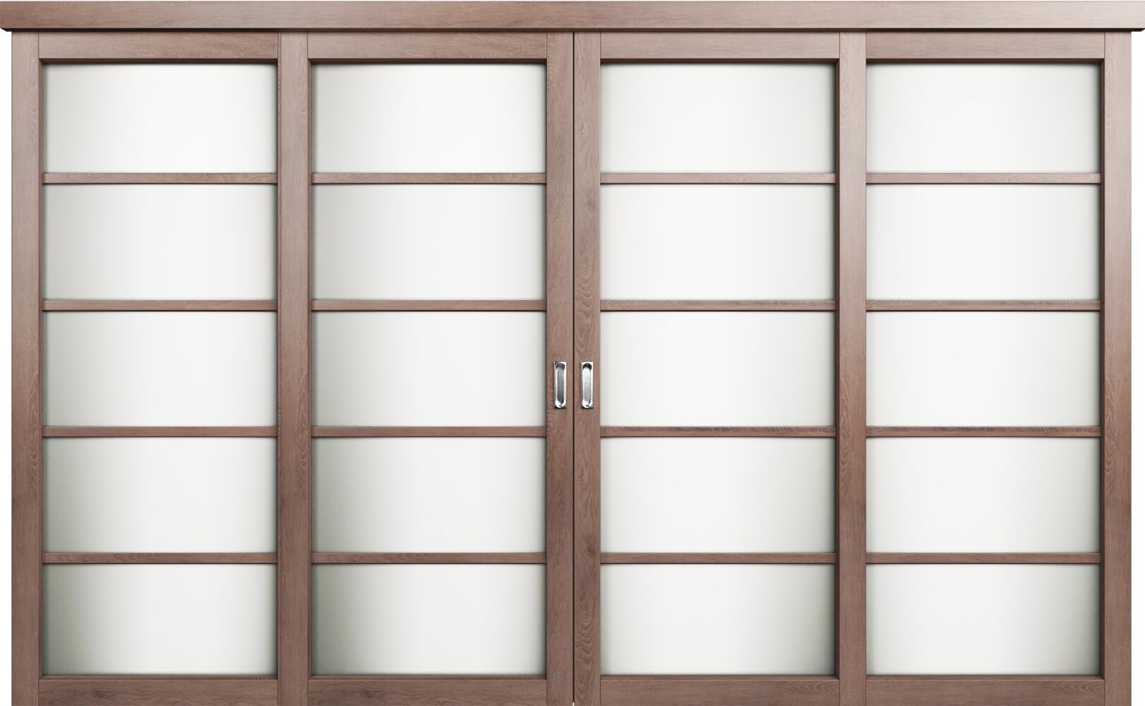 Коллекция Перегородки Двухполосная раздвижная система для 4-х полотен. Тип 1 Дуб капучино + Триплекс белый