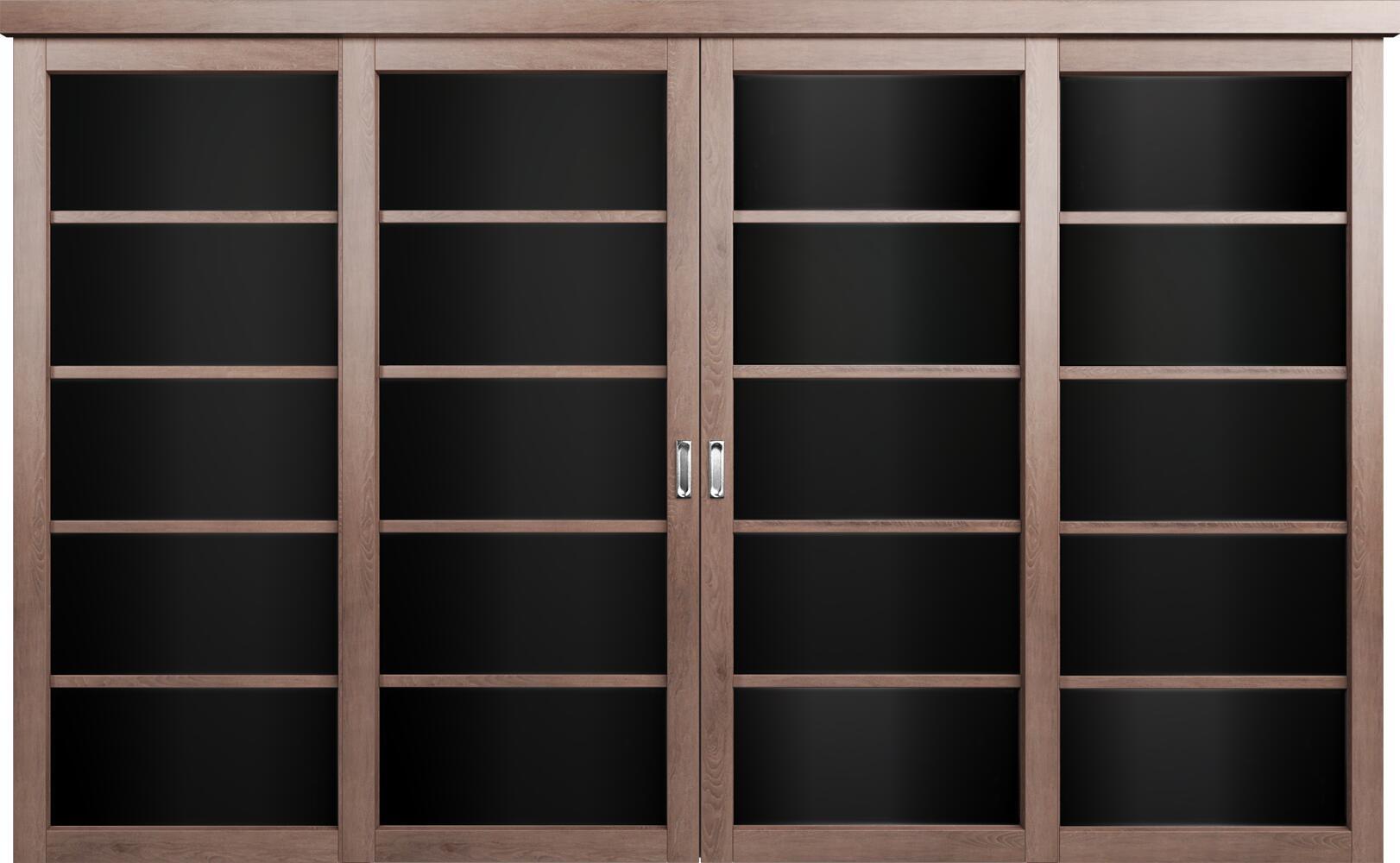 Коллекция Перегородки Двухполосная раздвижная система для 4-х полотен. Тип 1 Дуб капучино + Триплекс черный
