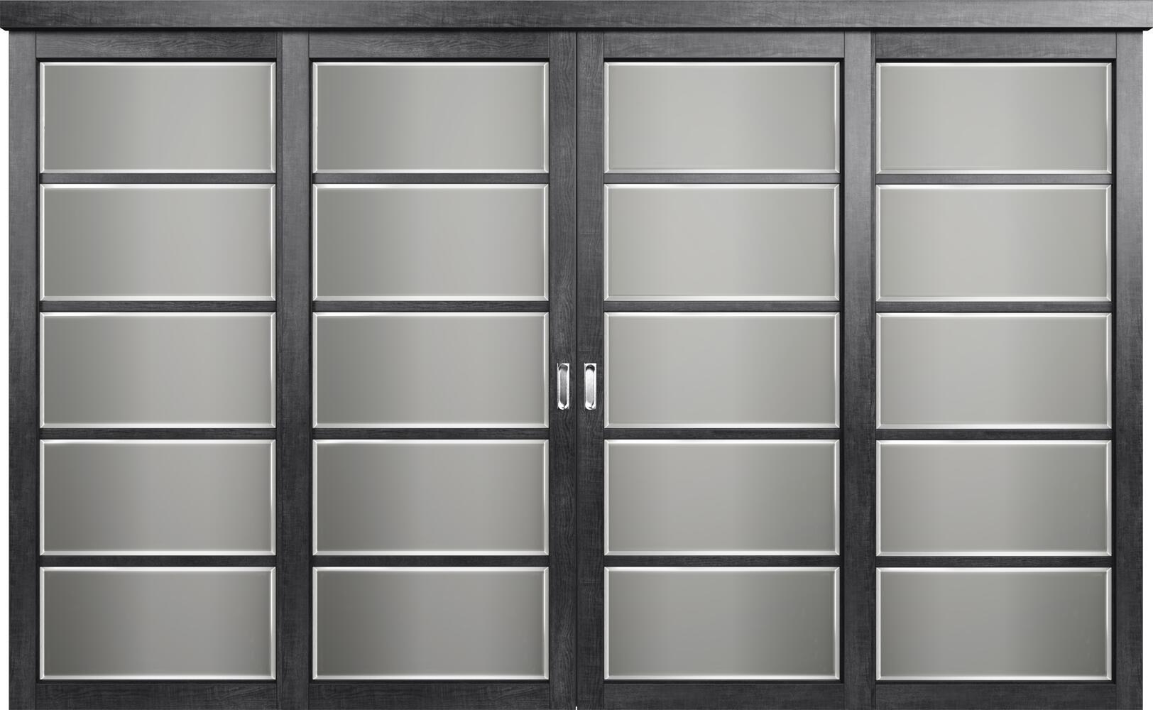 Коллекция Перегородки Двухполосная раздвижная система для 4-х полотен. Тип 1 Венге пепельный + Фацет
