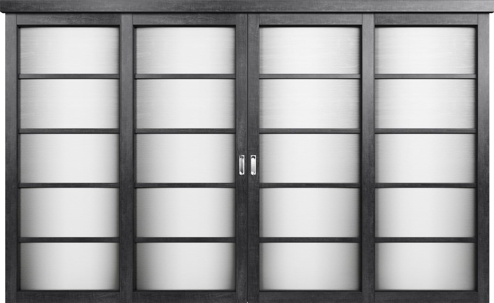Коллекция Перегородки Двухполосная раздвижная система для 4-х полотен. Тип 1 Венге пепельный + Канны