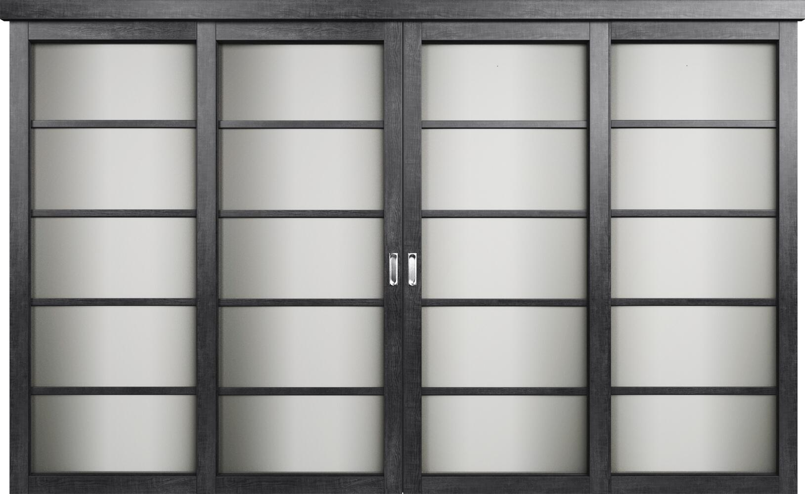 Коллекция Перегородки Двухполосная раздвижная система для 4-х полотен. Тип 1 Венге пепельный + Сатинато белое