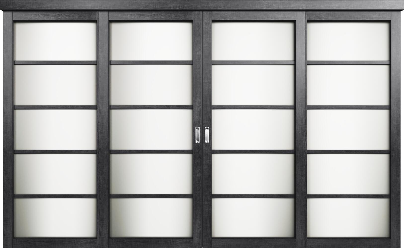Коллекция Перегородки Двухполосная раздвижная система для 4-х полотен. Тип 1 Венге пепельный + Триплекс белый