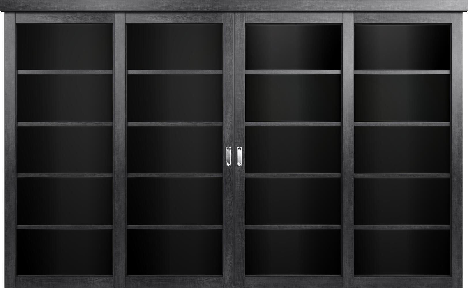 Коллекция Перегородки Двухполосная раздвижная система для 4-х полотен. Тип 1 Венге пепельный + Триплекс черный