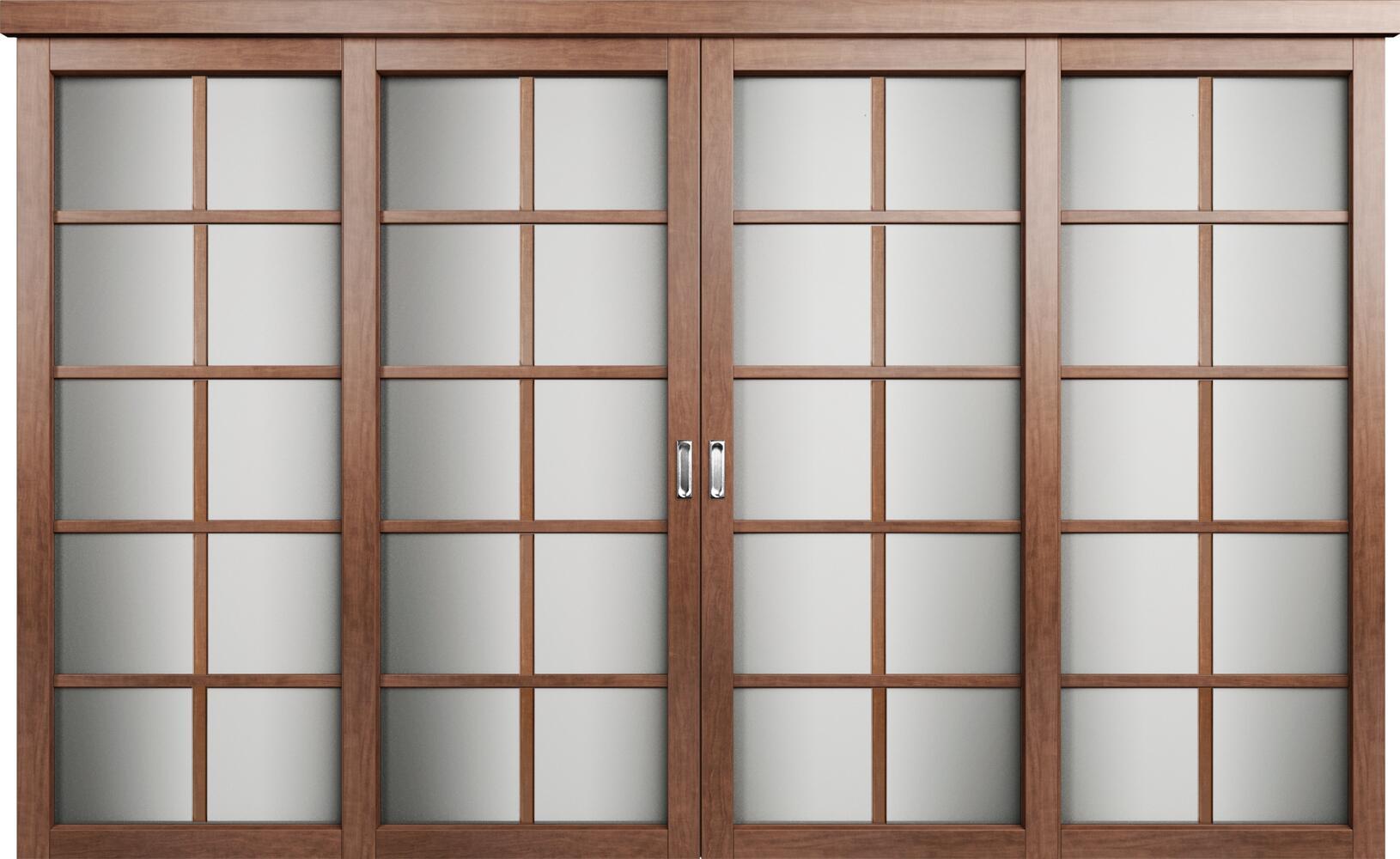 Коллекция Перегородки Двухполосная раздвижная система для 4-х полотен. Тип 2 Анегри + сатинато белое