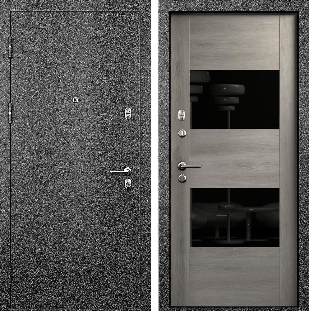 Коллекция Входные двери Статус М 221 Престиж Дуб   серый + лакобель черное