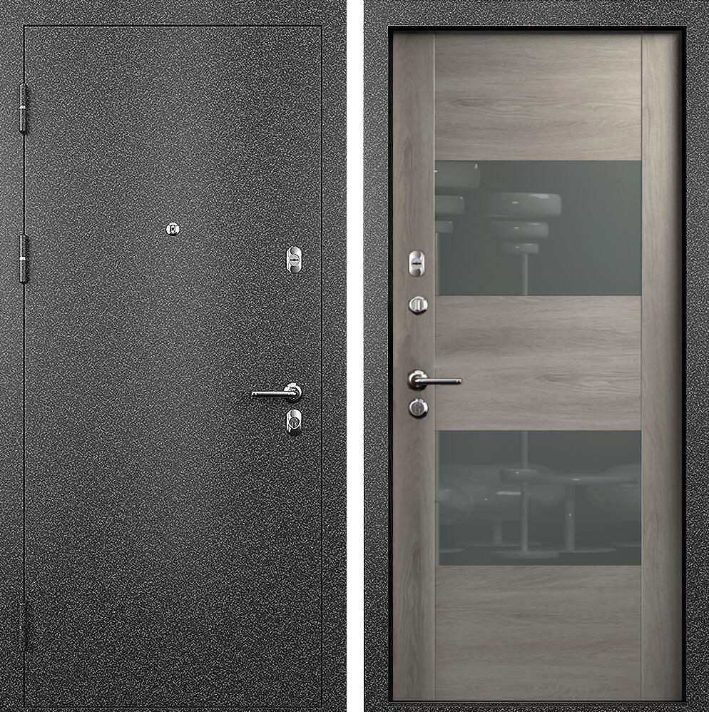 Коллекция Входные двери Статус М 221 Престиж Дуб   серый + лакобель серое