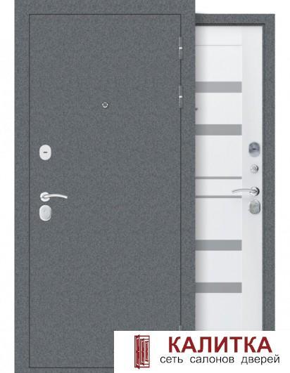Дрезден Серый Букле / Винил Белый 860х2050 левая