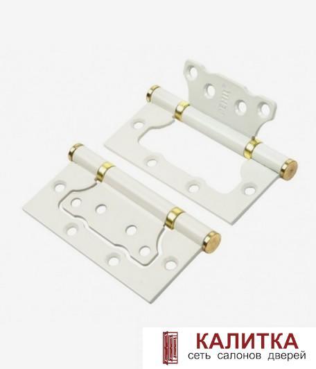 Петля накладная RENZ 100-2BB FH 100*75*2.5 W/PВ белый/золото