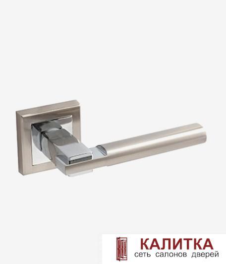 Ручка дверная  на квадратном основании H-18038 BRISA NIS/CR мат. никель/хром TD185221