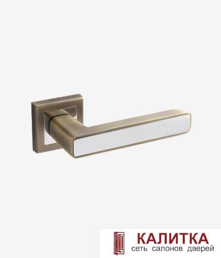 Ручка дверная  на квадратном основании H-18107 NEVADA MB/CR матовая бронза/хром TD 185233