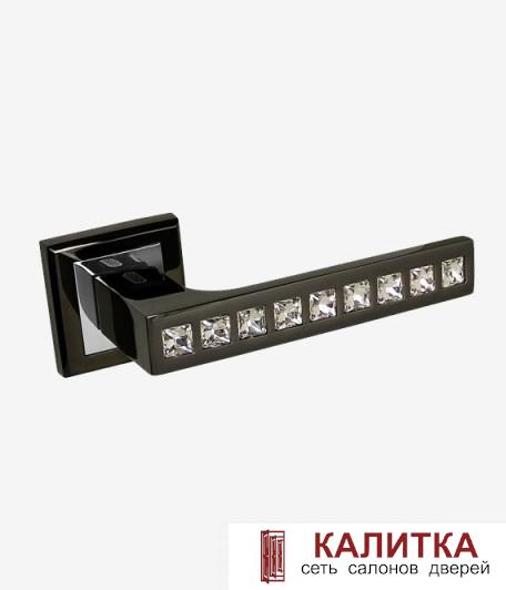 Ручка дверная PALIDORE на квадратном основании 301 BH/PC crystal графит (блест)/хром