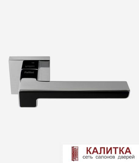 Ручка дверная Pallini на квадратном основании Бостон PAL-Z04-S PC/MatBlack полированный хром/черный